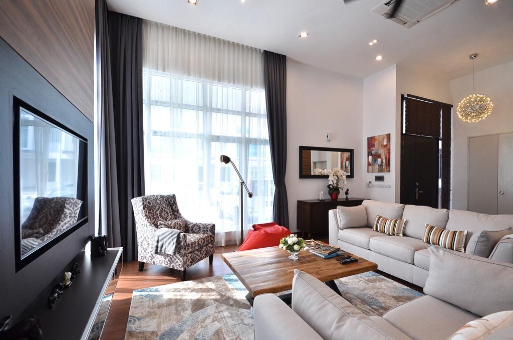 Contemporary, Landed, Living Room, Clover Garden @ Cyberjaya, Interior Designer, Mega Fusion Design Studio, Modern, Couch, Furniture, Indoors, Interior Design