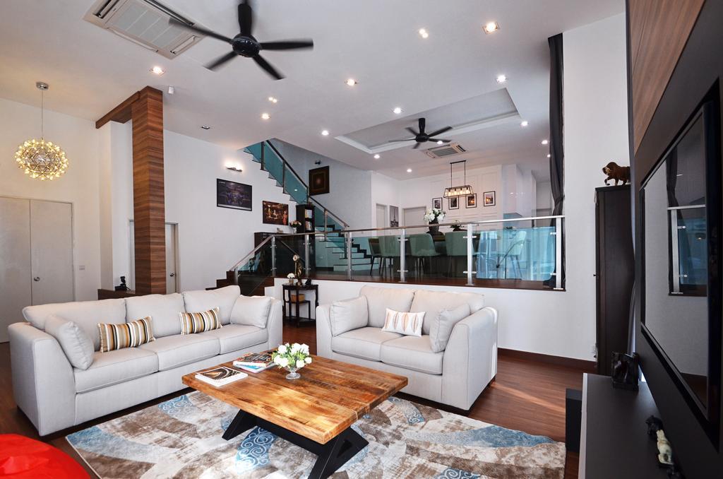 Contemporary, Landed, Living Room, Clover Garden @ Cyberjaya, Interior Designer, Mega Fusion Design Studio, Modern, Couch, Furniture, Light Fixture