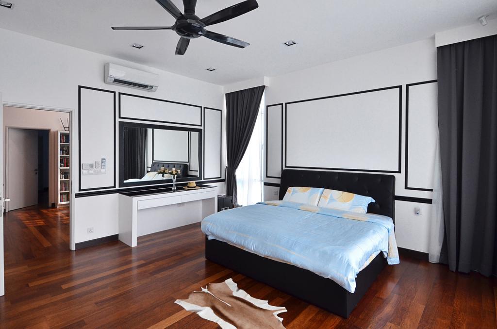 Contemporary, Landed, Bedroom, Clover Garden @ Cyberjaya, Interior Designer, Mega Fusion Design Studio, Modern, Bed, Furniture, Door, Sliding Door, Indoors, Interior Design, Room