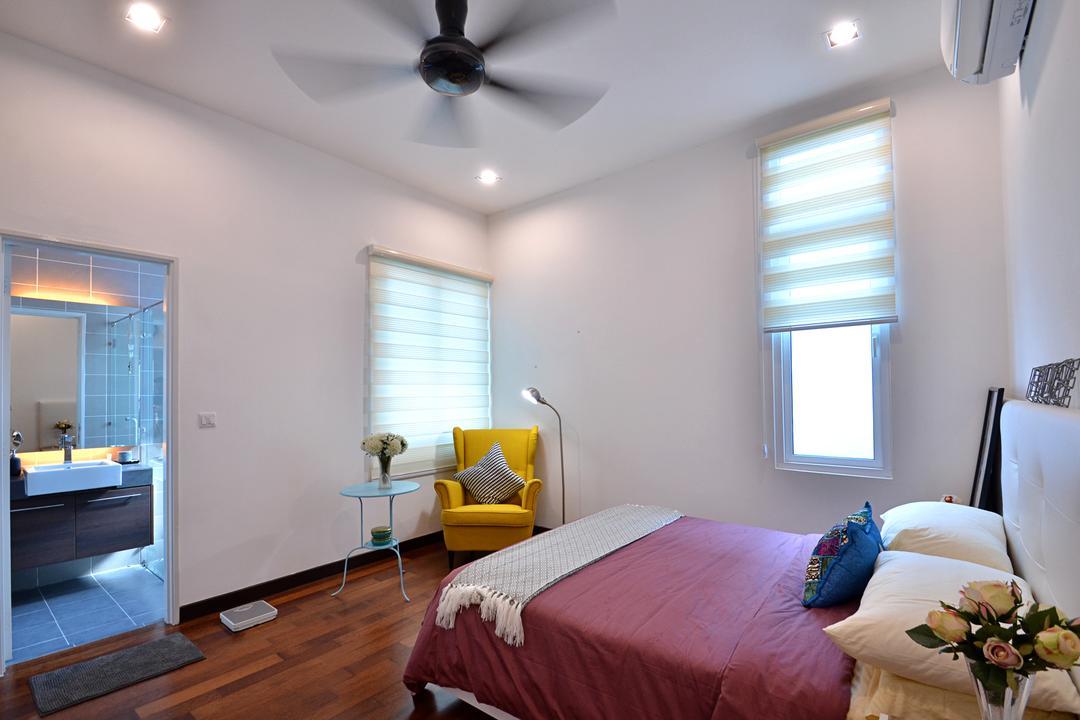 Clover Garden @ Cyberjaya, Mega Fusion Design Studio, Contemporary, Modern, Bedroom, Landed, Curtain, Home Decor, Window, Window Shade, Indoors, Interior Design, Room, Bed, Furniture, Couch