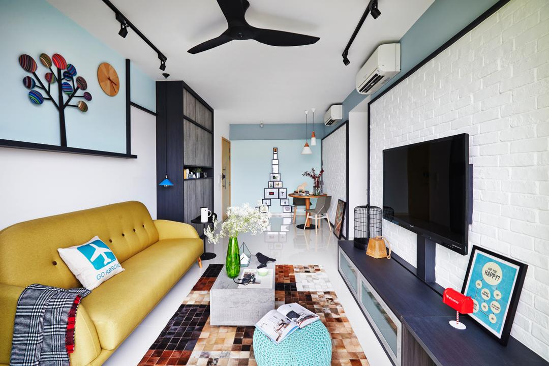 Esparina Residences, Dan's Workshop, Scandinavian, Living Room, Condo, Console, Black Fan, Wall Art, Mural, Painting, Carpet, Coffee Table, Yellow Sofa, Couch, Furniture, Propeller, Indoors, Room