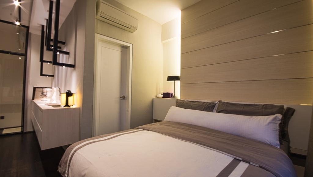 Modern, Condo, Bedroom, The Montana at River Valley, Interior Designer, Hall Interiors, Bed, Furniture, Bathroom, Indoors, Interior Design, Room