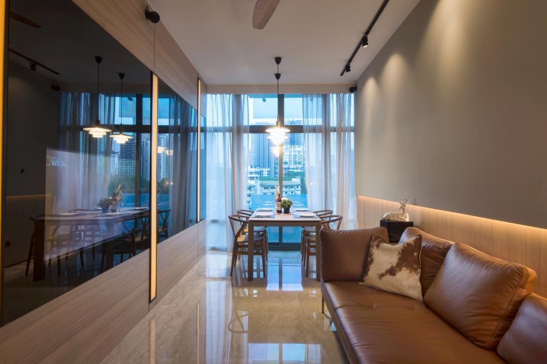 The Montana at River Valley, Hall Interiors, Modern, Living Room, Condo, Sofa, Curtains, Translucent Curtains, Black, Glossy Black Glass, Couch, Furniture, Indoors, Room, HDB, Building, Housing