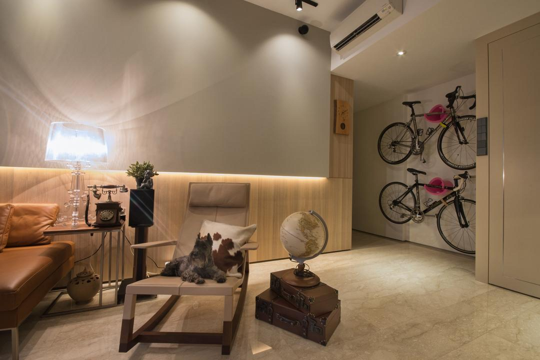 The Montana at River Valley, Hall Interiors, Modern, Living Room, Condo, Bicycle On The Wall, Table Lamp, Rocking Chair, Cushioned Rocking Chair, Globe, Chair, Furniture, Bicycle, Bike, Transportation, Vehicle, HDB, Building, Housing, Indoors, Mountain Bike