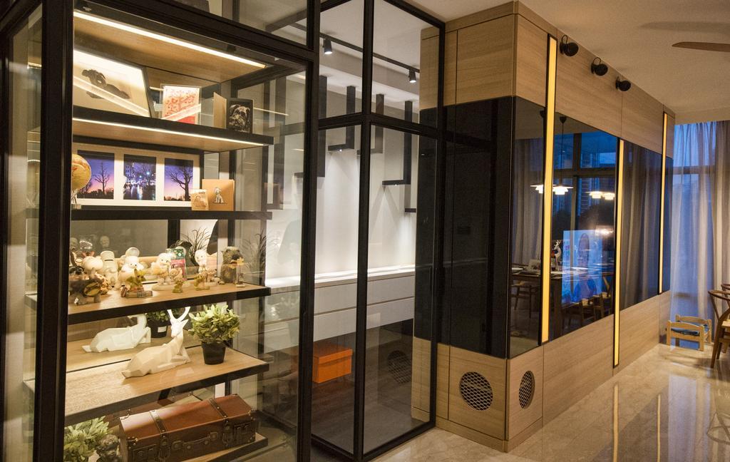 Modern, Condo, Living Room, The Montana at River Valley, Interior Designer, Hall Interiors, Open Shelves, Open Shelf, Door, Folding Door