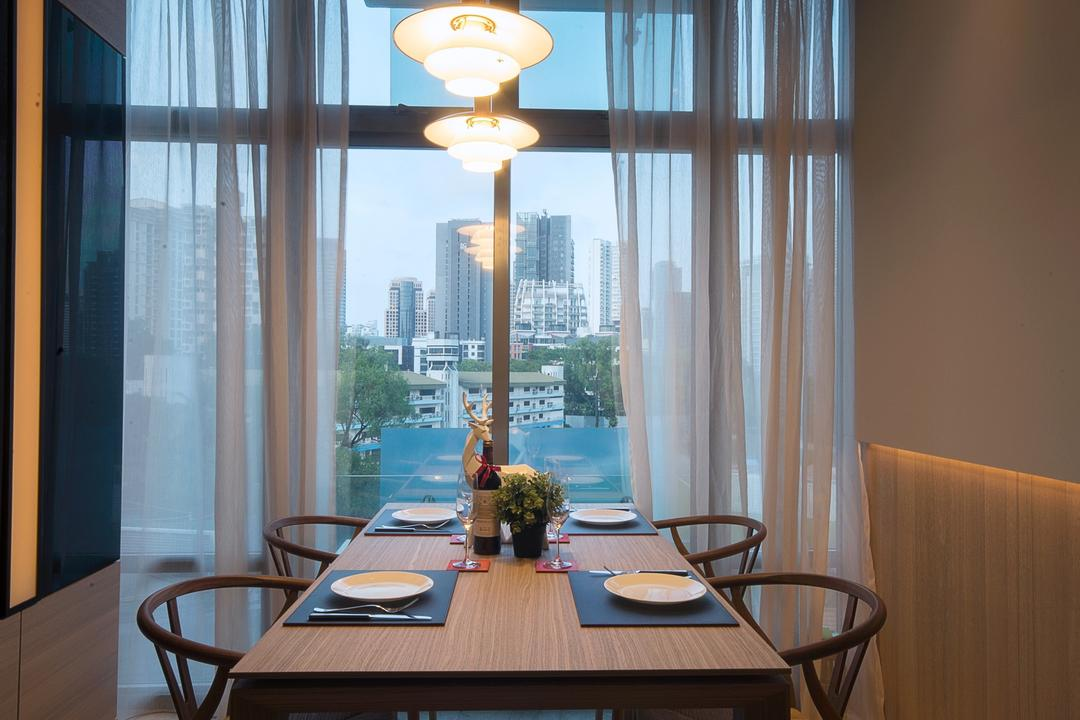 The Montana at River Valley, Hall Interiors, Modern, Dining Room, Condo, Curtains, Translucent Curtains, Pendant Lighting, Lighting, Indoors, Interior Design, Room, Flora, Jar, Plant, Potted Plant, Pottery, Vase, Chair, Furniture, Dining Table, Table