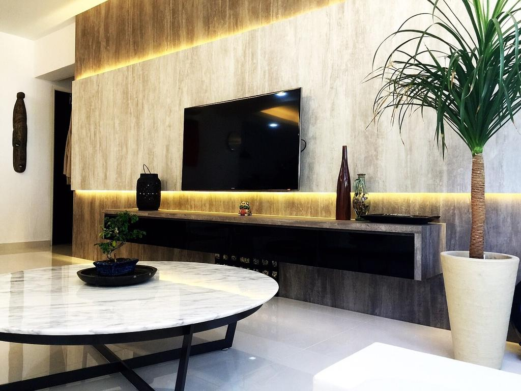 Traditional, HDB, Living Room, Yishun Ring Road (Block 332), Interior Designer, Starry Homestead, Concealed Lighting, Wall Mount Tv Shelf, Tv Console, Potted Plant, Coffee Table, Feature Wall, Flora, Jar, Plant, Pottery, Vase, Dining Table, Furniture, Table, Pot