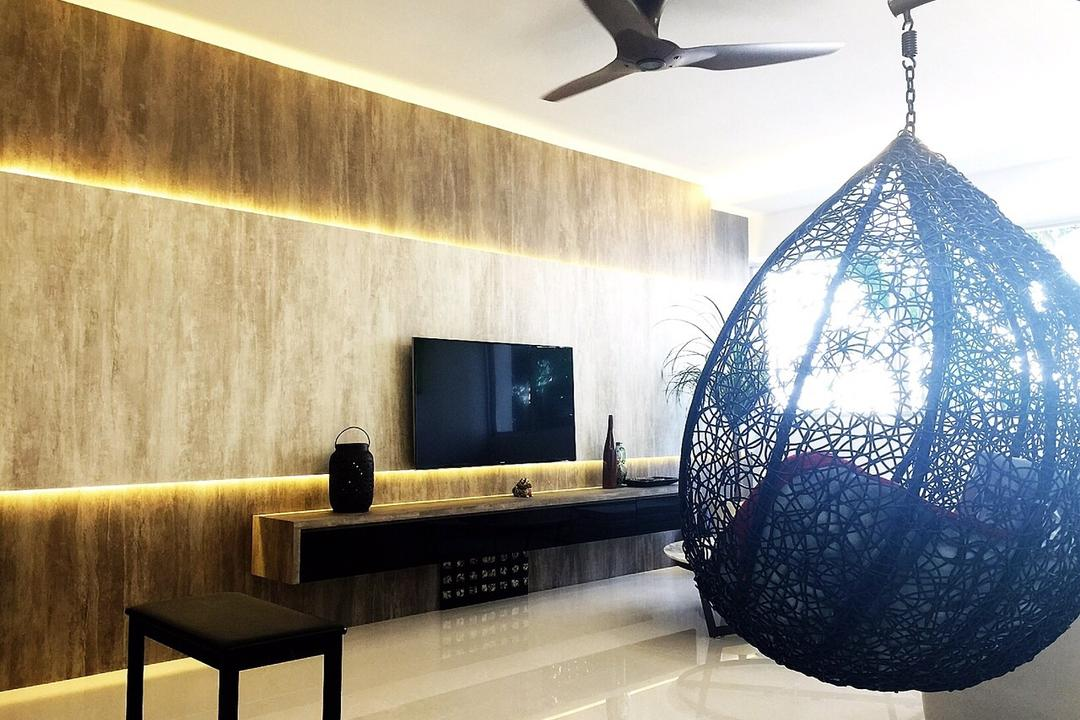 Yishun Ring Road (Block 332), Starry Homestead, Traditional, Living Room, HDB, Hanging Chair, Concealed Lighting, Feature Wall, Concealed Light, Tv Console, Egg Swing, Chair, Furniture, Astronomy, Globe, Outer Space, Planet, Space, Sphere, Universe, Indoors, Interior Design