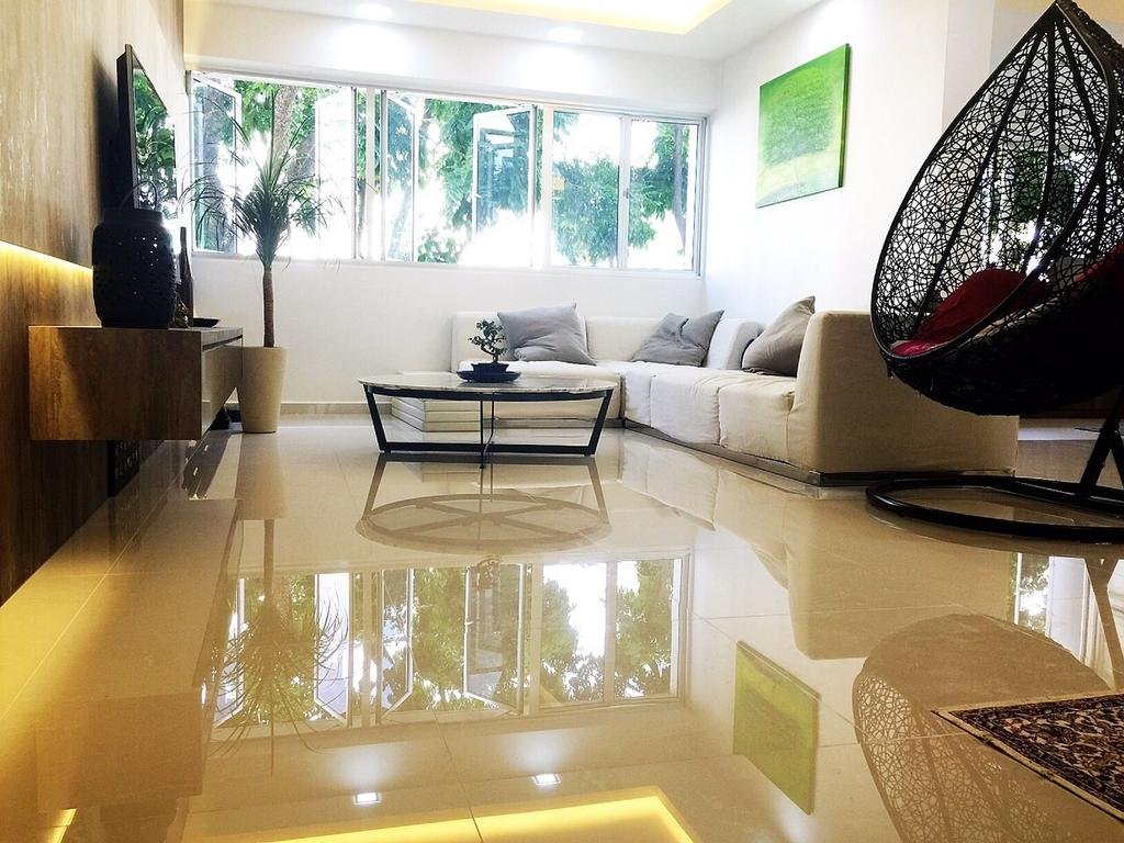Traditional, HDB, Living Room, Yishun Ring Road (Block 332), Interior Designer, Starry Homestead, Hanging Chair, Reflective Flooring, Egg Swing, Wallart, Concealed Lighting, Couch, Furniture, Flora, Jar, Plant, Potted Plant, Pottery, Vase, Indoors, Room