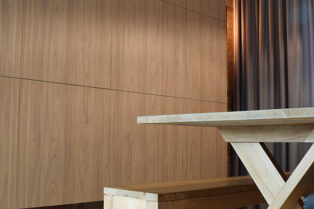 Balota Park, Baum Project Pte Ltd, Minimalist, Dining Room, Condo, Marble Floor, Wooden Wall, Wooden Dining Bench, Wooden Dining Table