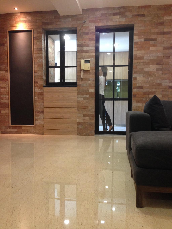 Minimalistic, Condo, Living Room, Balota Park, Interior Designer, Baum Project Pte Ltd, Marble Floor, Brick Walls, Recessed Lights, Glass Panelled Door, Modern Contemporary Living Room