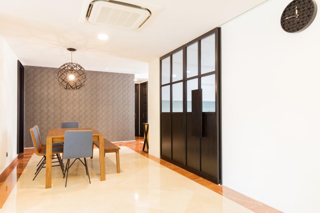 Pebble Bay, Baum Project Pte Ltd, Minimalistic, Dining Room, Condo, Modern Contemporary Dining Room, Hanging Lights, Recessed Lights, Wooden Bench, Wooden Table, Black Door, Polar White Walls, Ceramic Floor