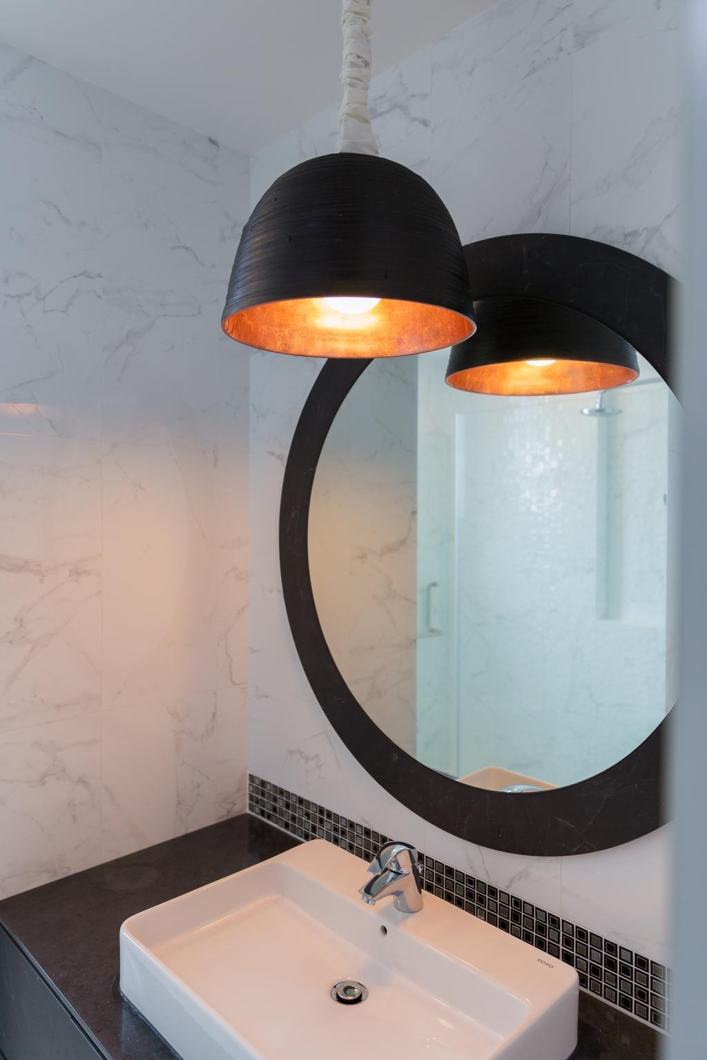 Minimalistic, Condo, Bathroom, Pebble Bay, Interior Designer, Baum Project Pte Ltd, Protruding Sink, Circle Mirror, Hanign Lights