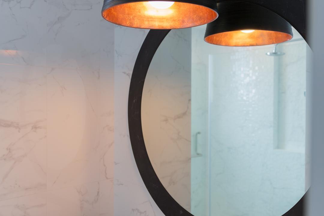 Pebble Bay, Baum Project Pte Ltd, Minimalistic, Bathroom, Condo, Protruding Sink, Circle Mirror, Hanign Lights