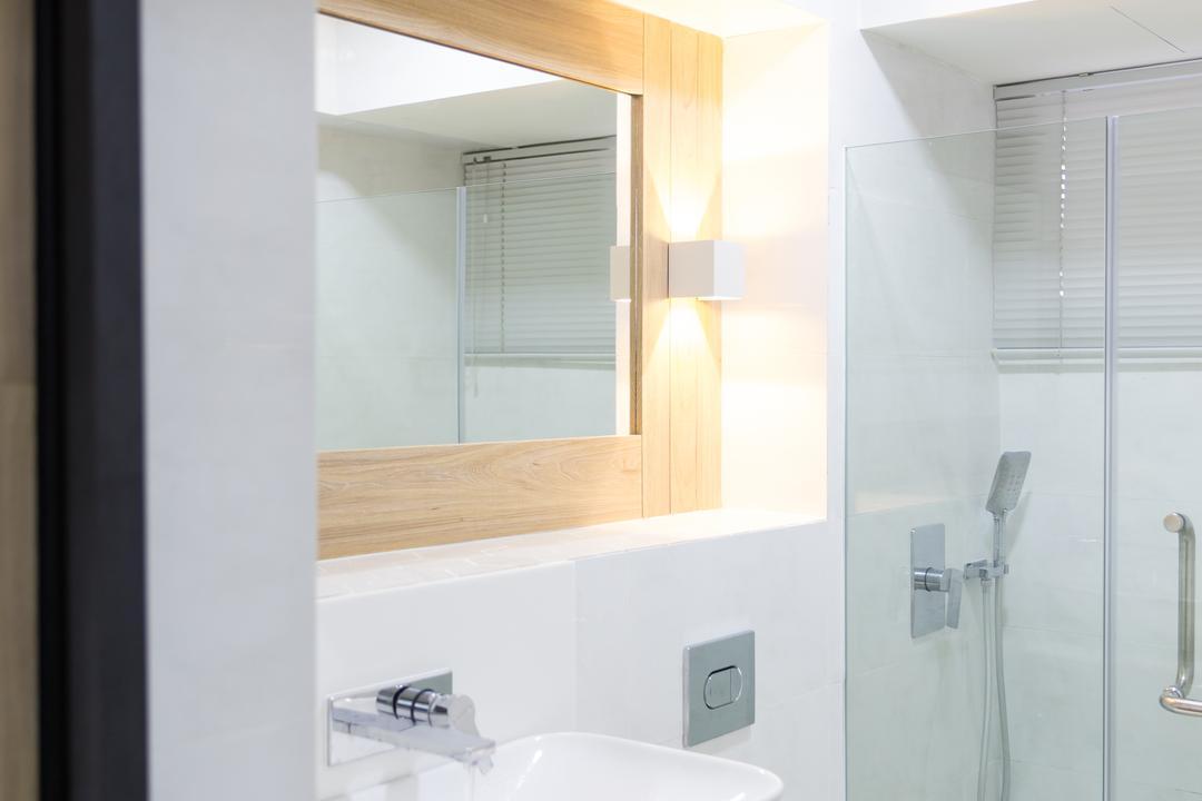 Compassvale, Baum Project Pte Ltd, Minimalistic, Bathroom, HDB, Recessed Lights, Coffered Ceiling, Portuding Sink, Modern Contemporary Bathroom