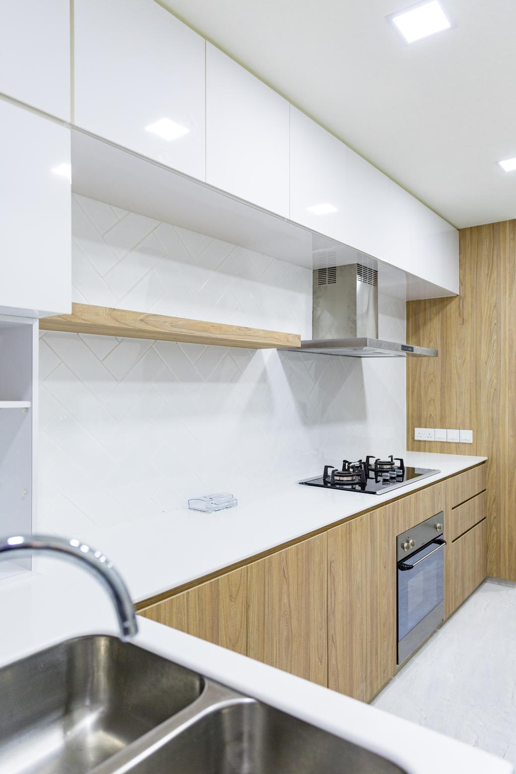 Minimalistic, HDB, Kitchen, Compassvale, Interior Designer, Baum Project Pte Ltd, Modern Contemporary Kitchen, Recessed Lights, Wooden Cabinet, Polar White Cabinet, Polar White Laminated Top