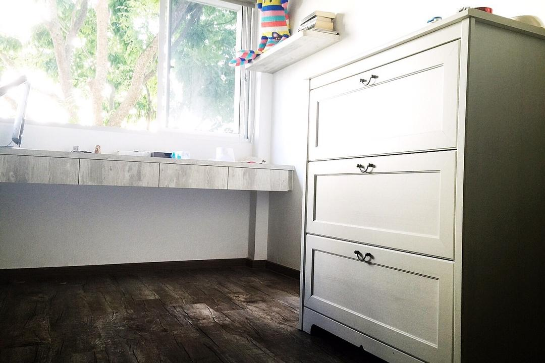 Yishun Ring Road (Block 332), Starry Homestead, Traditional, Bedroom, HDB, White, Cabinet, Study Desk, Chest Of Drawers, Wall Mounted Shelf, Display Shelf, Appliance, Electrical Device, Fridge, Refrigerator, Drawer, Furniture, Flooring