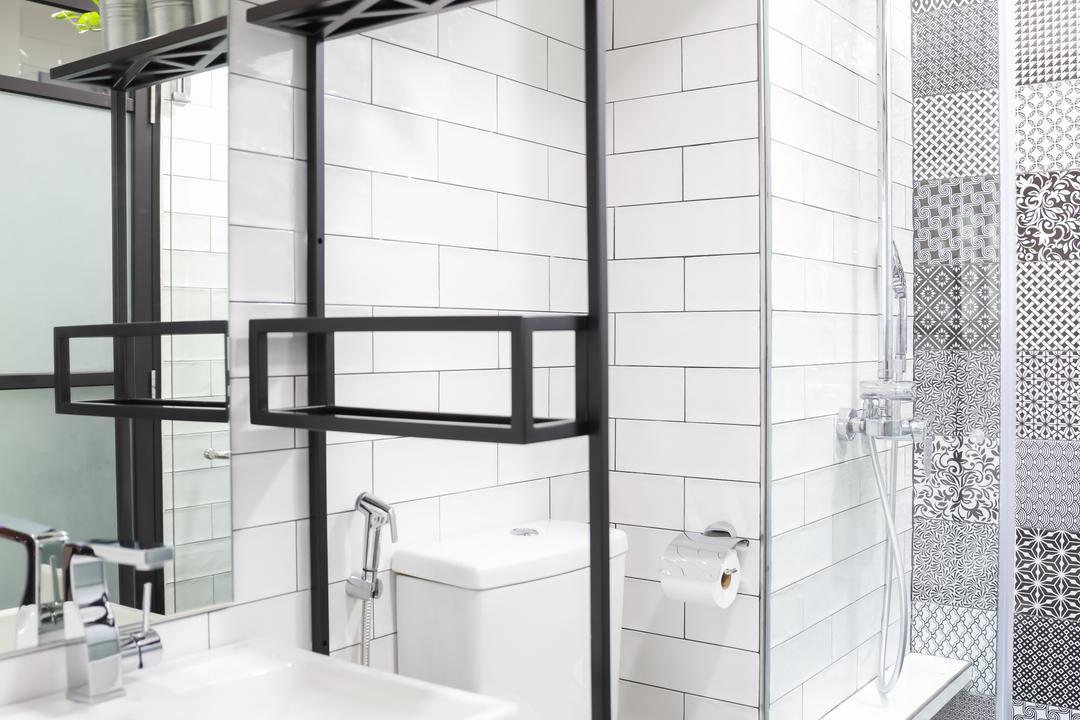 Evergreen, Baum Project Pte Ltd, Minimalistic, Bathroom, Condo, Brick Walls, Protruding Sink, Recessed Lights