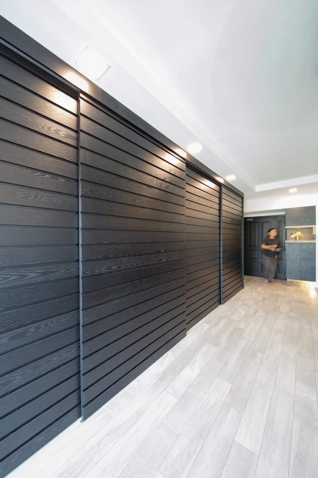 Minimalistic, Condo, Living Room, Evergreen, Interior Designer, Baum Project Pte Ltd, Recessed Lights, Coffered Ceiling, Modern Living Room