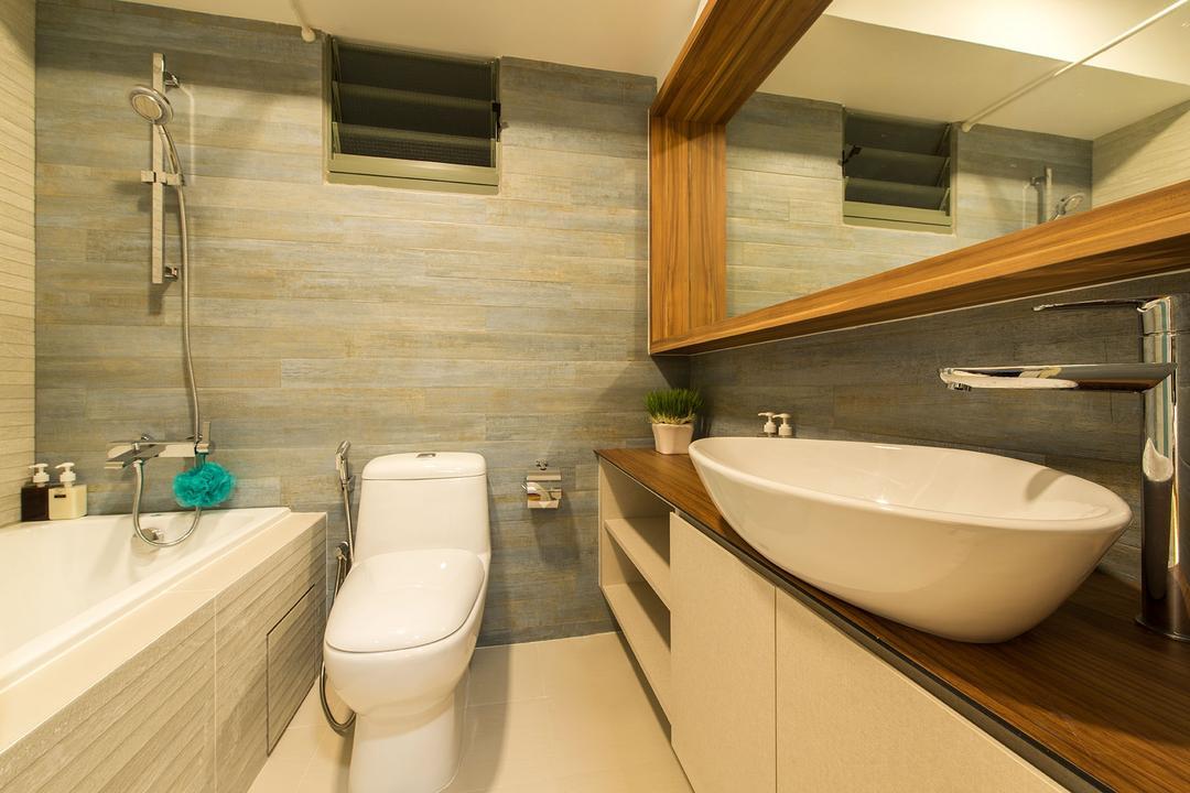 Waterway Brooks, Posh Living Interior Design, Modern, Scandinavian, HDB, Bath Tub, Wooden Laminated Top, Modern Contemporary Toilet, Wooden Panelled Mirror, Bathroom, Indoors, Interior Design, Room