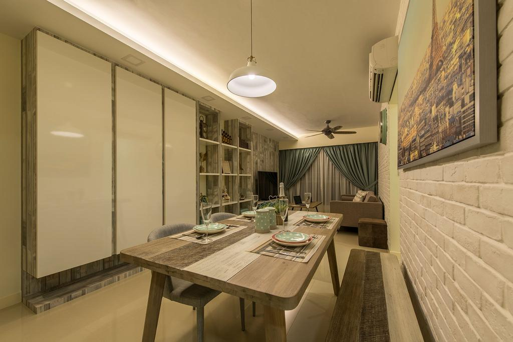 Modern, HDB, Dining Room, Waterway Brooks, Interior Designer, Posh Living Interior Design, Scandinavian, Hidden Interior Lighting, Hanging Light, Brick Wall, Wooden Dining Table, Wooden Bench, Modern Contemporary Dining Room, Indoors, Interior Design, Room, Dining Table, Furniture, Table