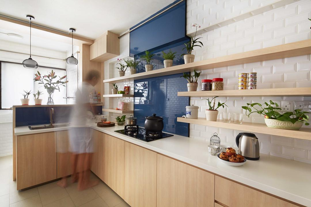 Tampines (Block 236), asolidplan, Eclectic, Kitchen, HDB, Modern Contemporary Kitchen, Wooden Shelves, Wooden Cabinet, White Laminated Top, White Brick Walls, Ceramic Tiles, Hanging Lights, Indoors, Interior Design, Room