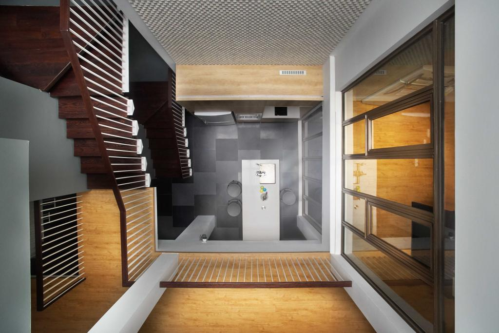 Modern, Landed, Living Room, Jalan Jambu, Architect, asolidplan, Bathroom, Indoors, Interior Design, Room, Banister, Handrail, Staircase