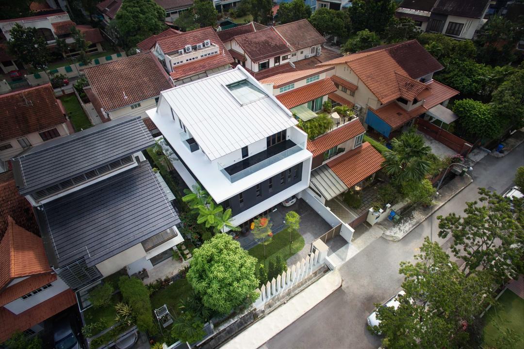 Jalan Jambu, asolidplan, Modern, Landed, Aerial View, Landscape, Nature, Outdoors, Scenery, Flora, Jar, Plant, Potted Plant, Pottery, Vase, Roof, Tile Roof, Architecture, Building, Skylight, Window