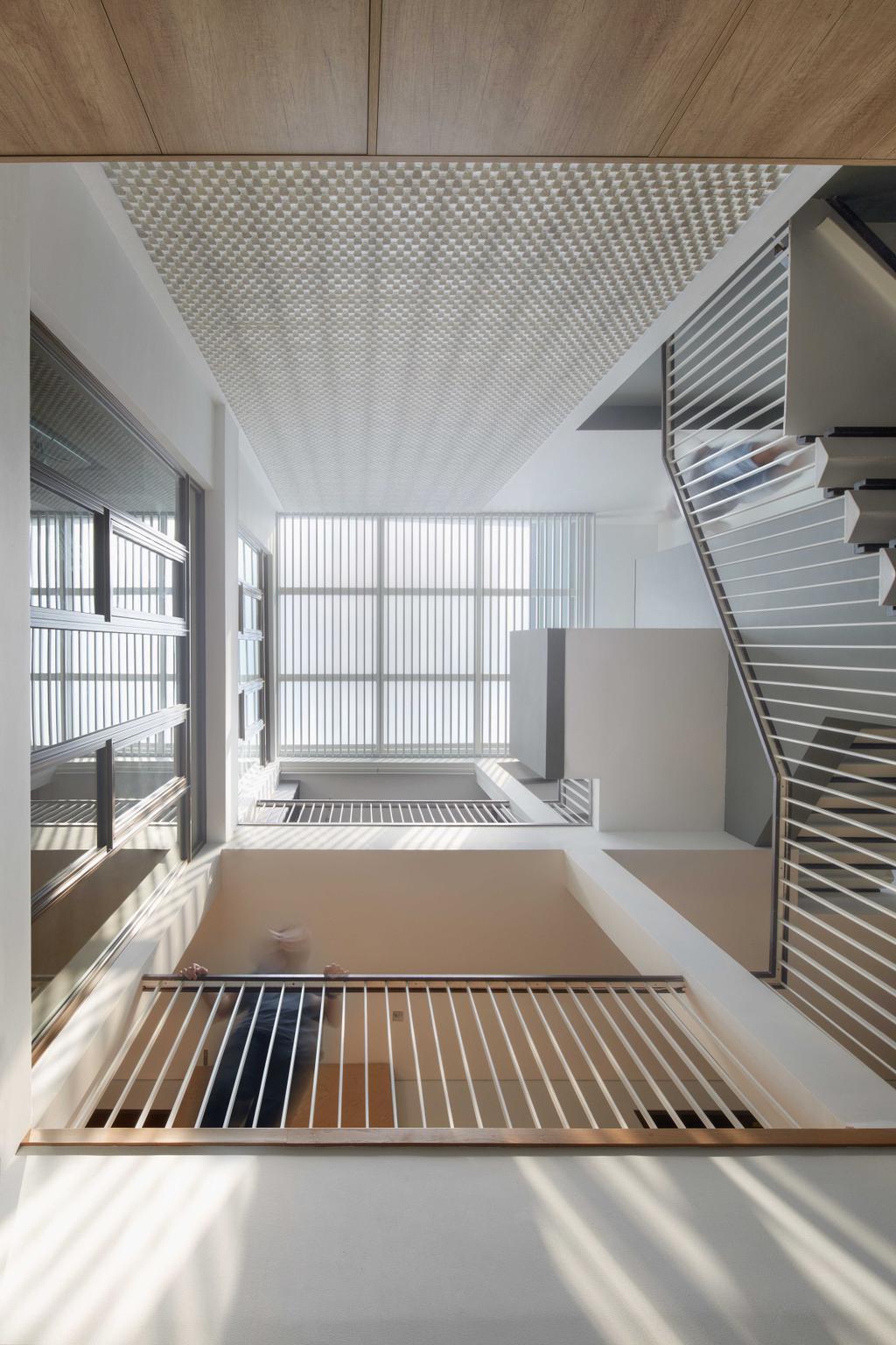 Modern, Landed, Living Room, Jalan Jambu, Architect, asolidplan, Banister, Handrail, Staircase