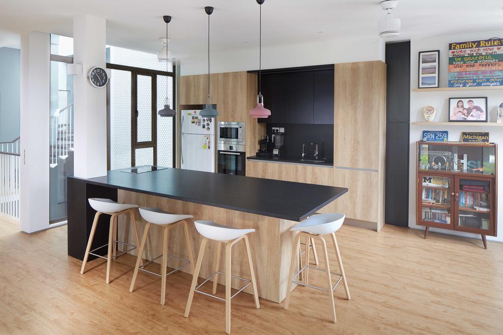Modern, Landed, Kitchen, Jalan Jambu, Architect, asolidplan, Dining Table, Furniture, Table, Bookcase, Dining Room, Indoors, Interior Design, Room