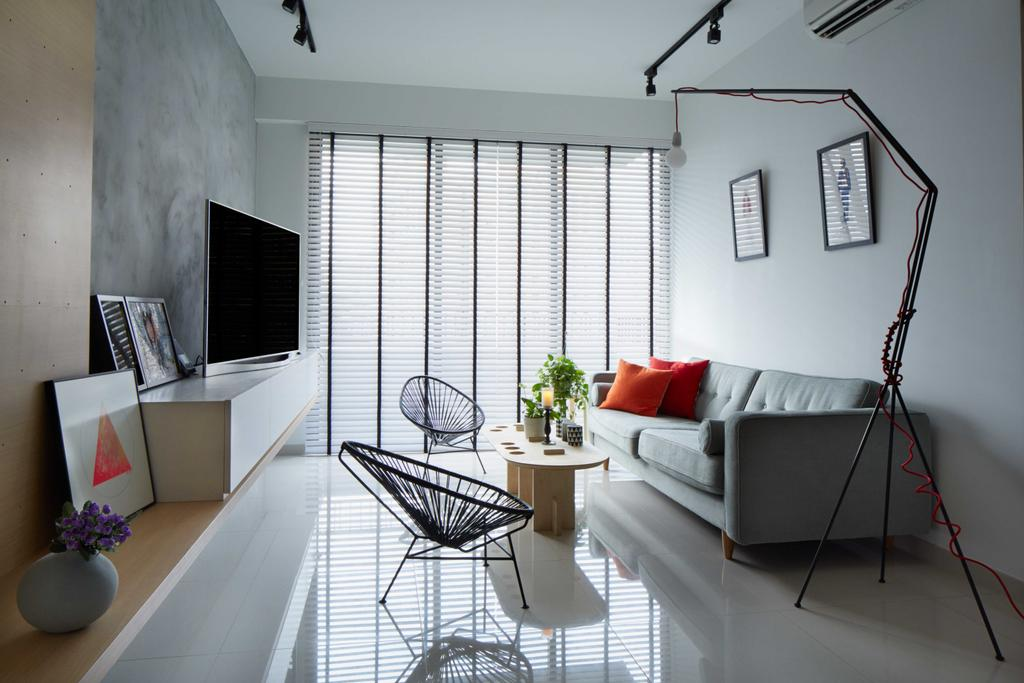 Minimalistic, Condo, Living Room, Prive, Architect, asolidplan, Scandinavian, Modern Contemporary Living Room, Silver Blue Wall, Silver Blue Sofa, Roll Down Curtains, Track Lights, Wooden Table, Wooden Shelve, Wall Mounted Television, Floating Console, Couch, Furniture