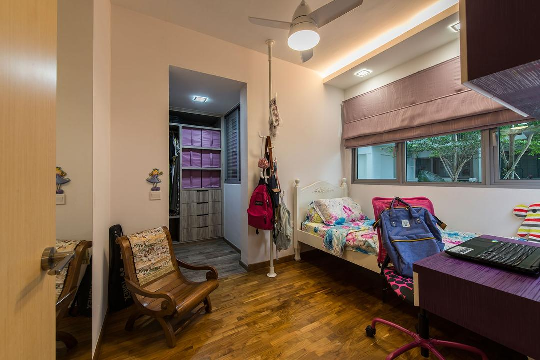 Treasure Trove, Posh Living Interior Design, Modern, Traditional, Bedroom, Condo, Wooden Floor, Middle Back Chair, Study Desk, Hidden Interior Lighting, Recessed Lights, Woodne Chair, Luggage, Suitcase, Chair, Furniture, Lighting