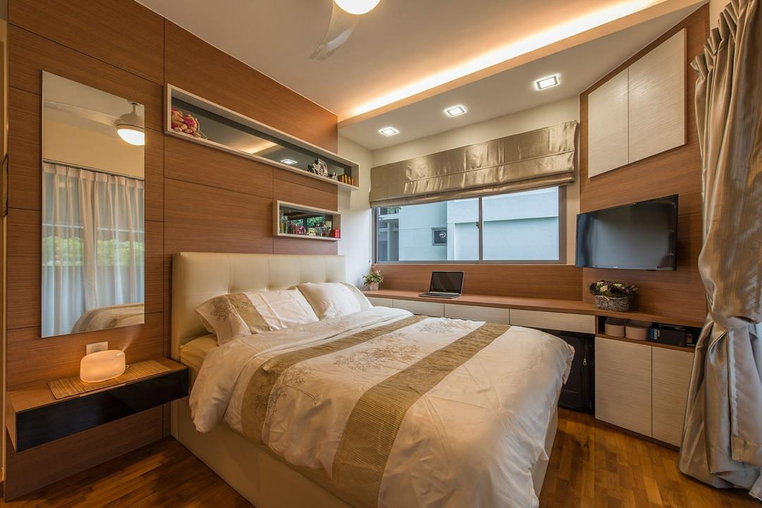 Treasure Trove, Posh Living Interior Design, Modern, Traditional, Bedroom, Condo, Hidden Interior Lighting, Recessed Lights, Wooden Floor, King Size Bed, White Laminated Cabinet, Cozy, Cosy, , Classy, Built In Shelves, Bed, Furniture, Indoors, Room