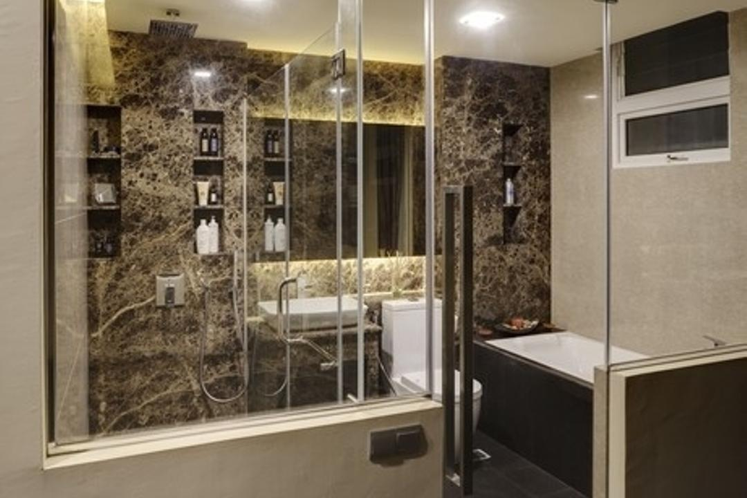 Hillview, Earth Interior Design Pte Ltd, Modern, Bathroom, Landed, Recessed Lights, Glass Door, Glass Panels, Classy, Modern Contemporary Bathroom, Ceramic Tiles, Indoors, Interior Design, Room, Appliance, Electrical Device, Microwave, Oven