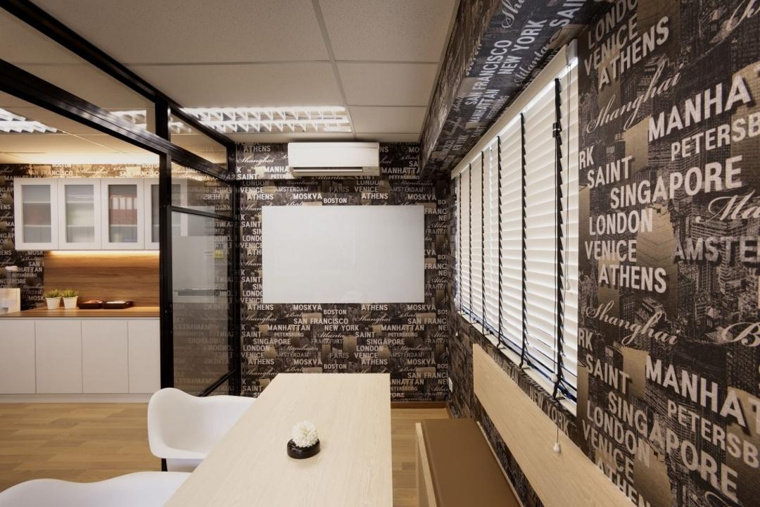 Tras Street, Earth Interior Design Pte Ltd, Contemporary, Commercial, Wooden Floor, Artsy, Walls With Wording Patterns, White Laminated Table, Wooden Bench, Roll Down Curtain, White Chair, Ceiling Lights, White Board, Brochure, Flyer, Paper, Poster