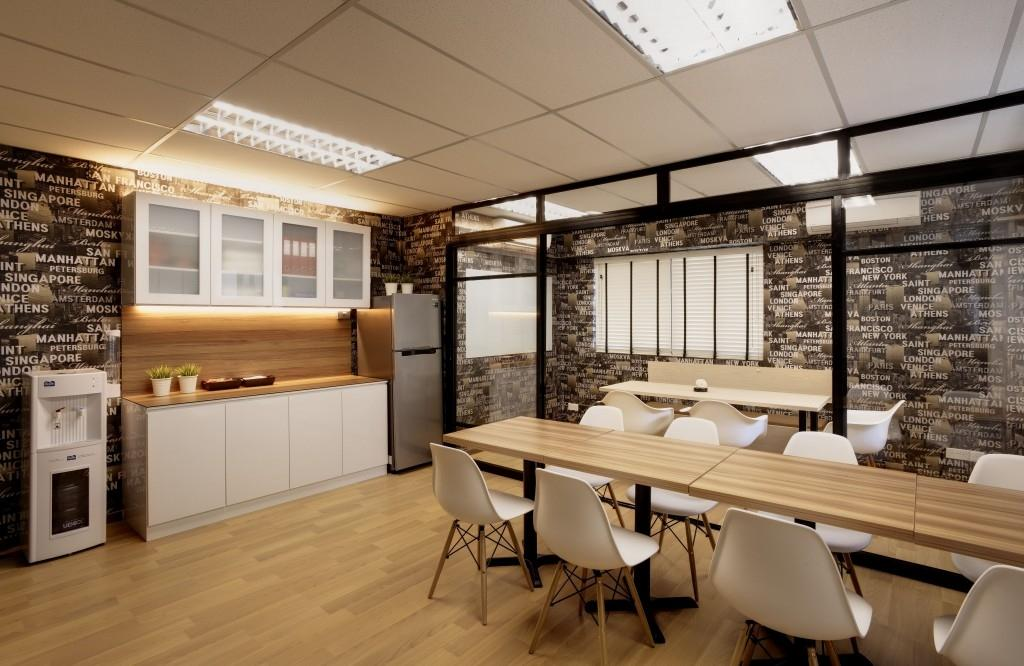 Tras Street, Commercial, Interior Designer, Earth Interior Design Pte Ltd, Contemporary, Wooden Floor, Artsy, Walls With Wording Patterns, Wooden Table, White Chair, Wall Mounted Cabinet, Wooden Laminated Top, Wall Mounted Cupboard, Water Cooler, Dining Table, Furniture, Table, Chair