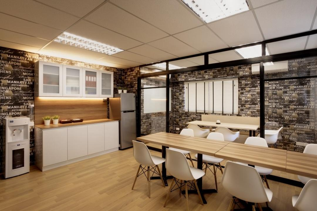 Tras Street, Earth Interior Design Pte Ltd, Contemporary, Commercial, Wooden Floor, Artsy, Walls With Wording Patterns, Wooden Table, White Chair, Wall Mounted Cabinet, Wooden Laminated Top, Wall Mounted Cupboard, Water Cooler, Dining Table, Furniture, Table, Chair