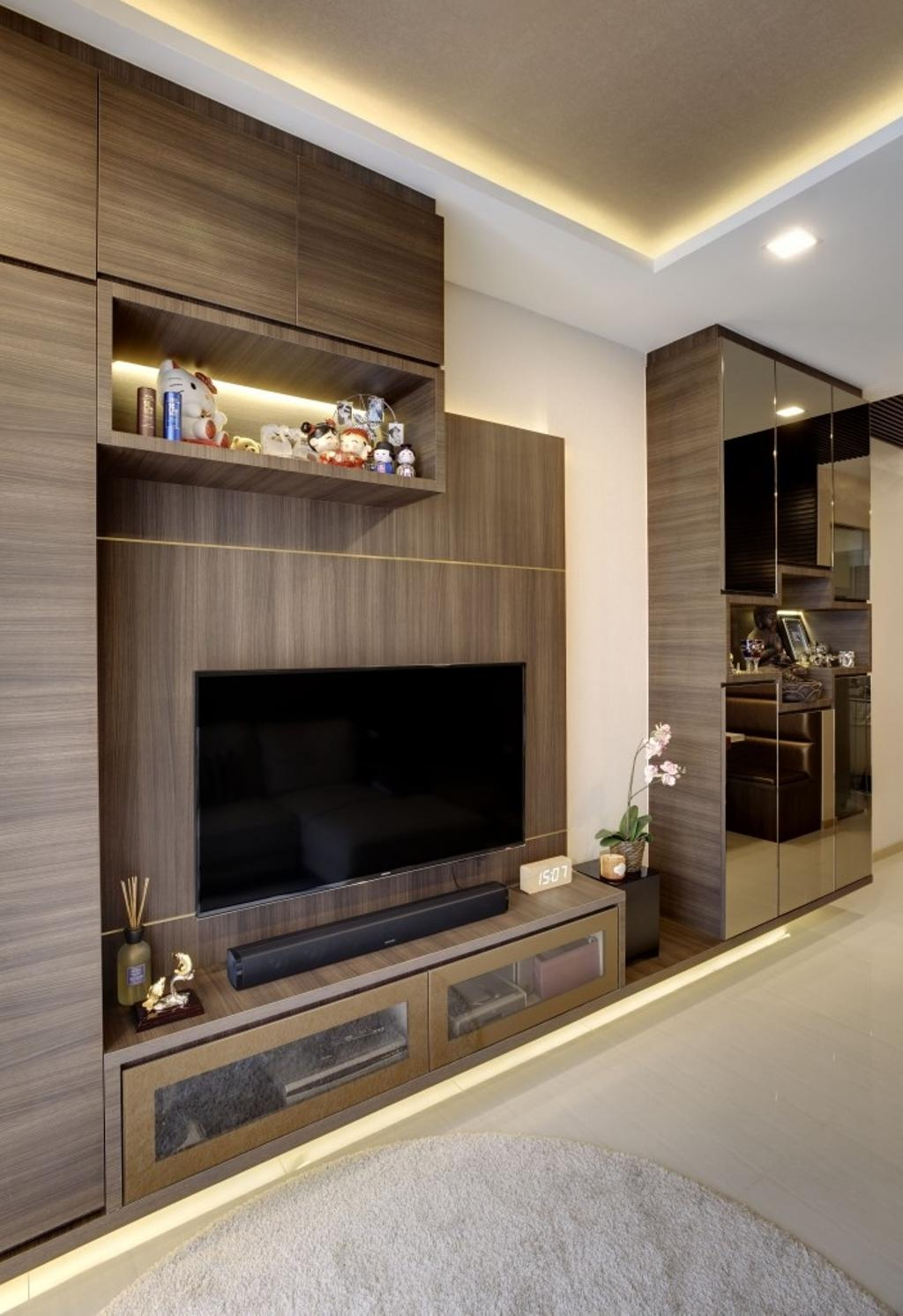 Contemporary, Condo, Living Room, Terrasse, Interior Designer, Earth Interior Design Pte Ltd, Fireplace, Hearth, Appliance, Electrical Device, Oven