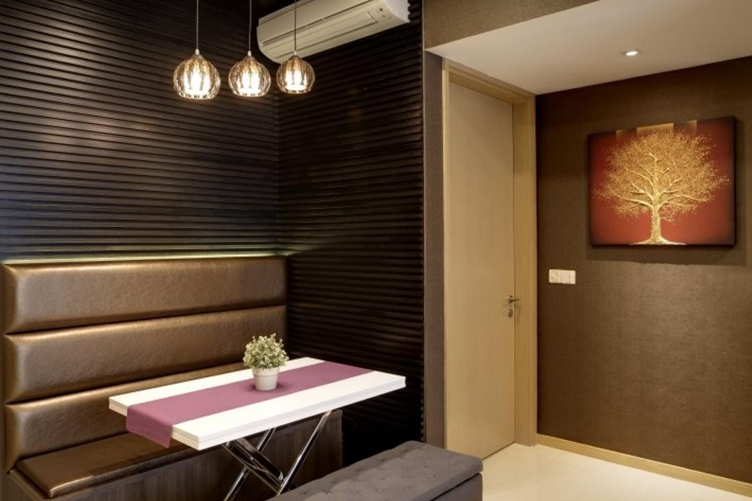 Terrasse, Earth Interior Design Pte Ltd, Contemporary, Dining Room, Condo, Cushioned Bench, Cushioned Chair, White Laminated Tabletop, Hanging Lights, Black Wall, Brown Wall, Recessed Lights, Modern Contemporary Dining Room, Coffee Table, Furniture, Table