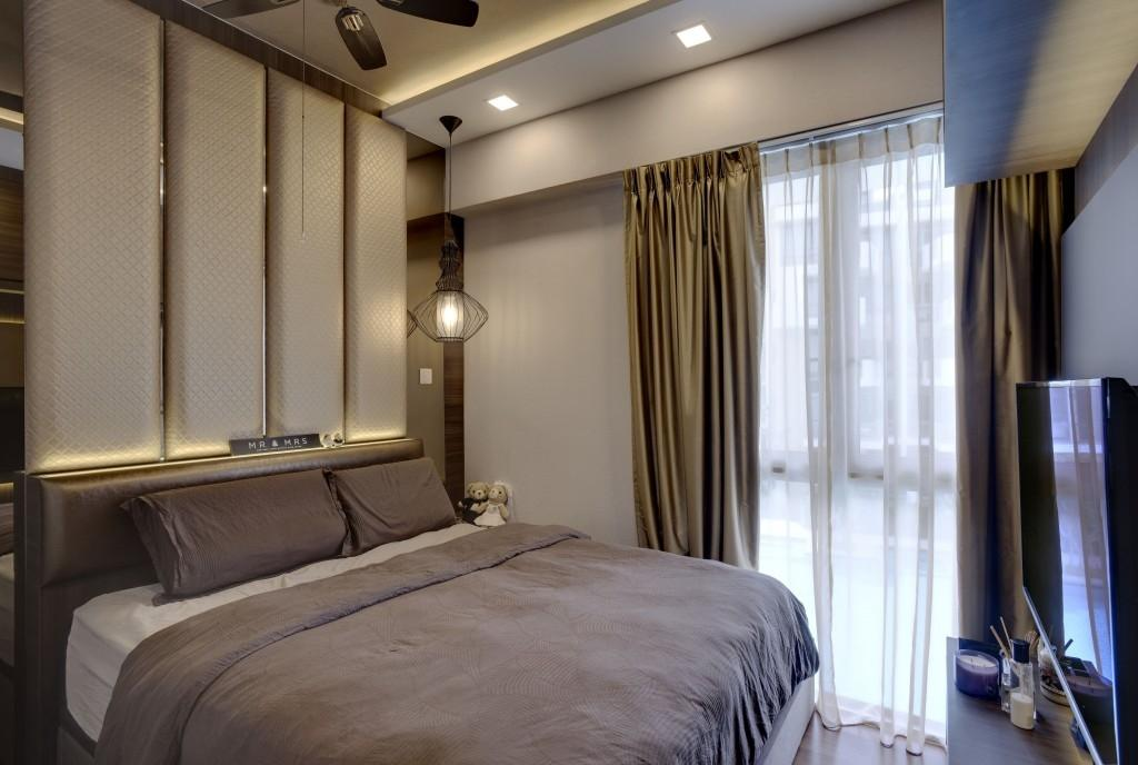 Contemporary, Condo, Bedroom, Terrasse, Interior Designer, Earth Interior Design Pte Ltd, , Cozy, Cosy, King Size Bed, Sling Curtain, Recessed Lights, Wall Mounted Television, Modern Contemporary Bedroom, Bed, Furniture, Indoors, Interior Design, Room