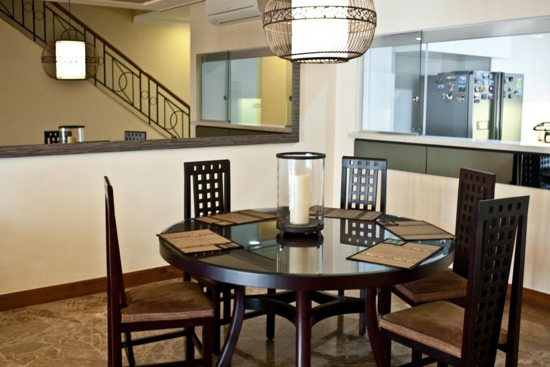Poh Huat, Earth Interior Design Pte Ltd, Contemporary, Dining Room, Landed, Hanging Lights, Black Round Table, High Back Dining Chair, Black Dining Chair, Dark Brown Dining Chair, Moden Contemporary Dining Room, Large Rug, Wooden Floor, Chair, Furniture, Dining Table, Table, Indoors, Interior Design, Room