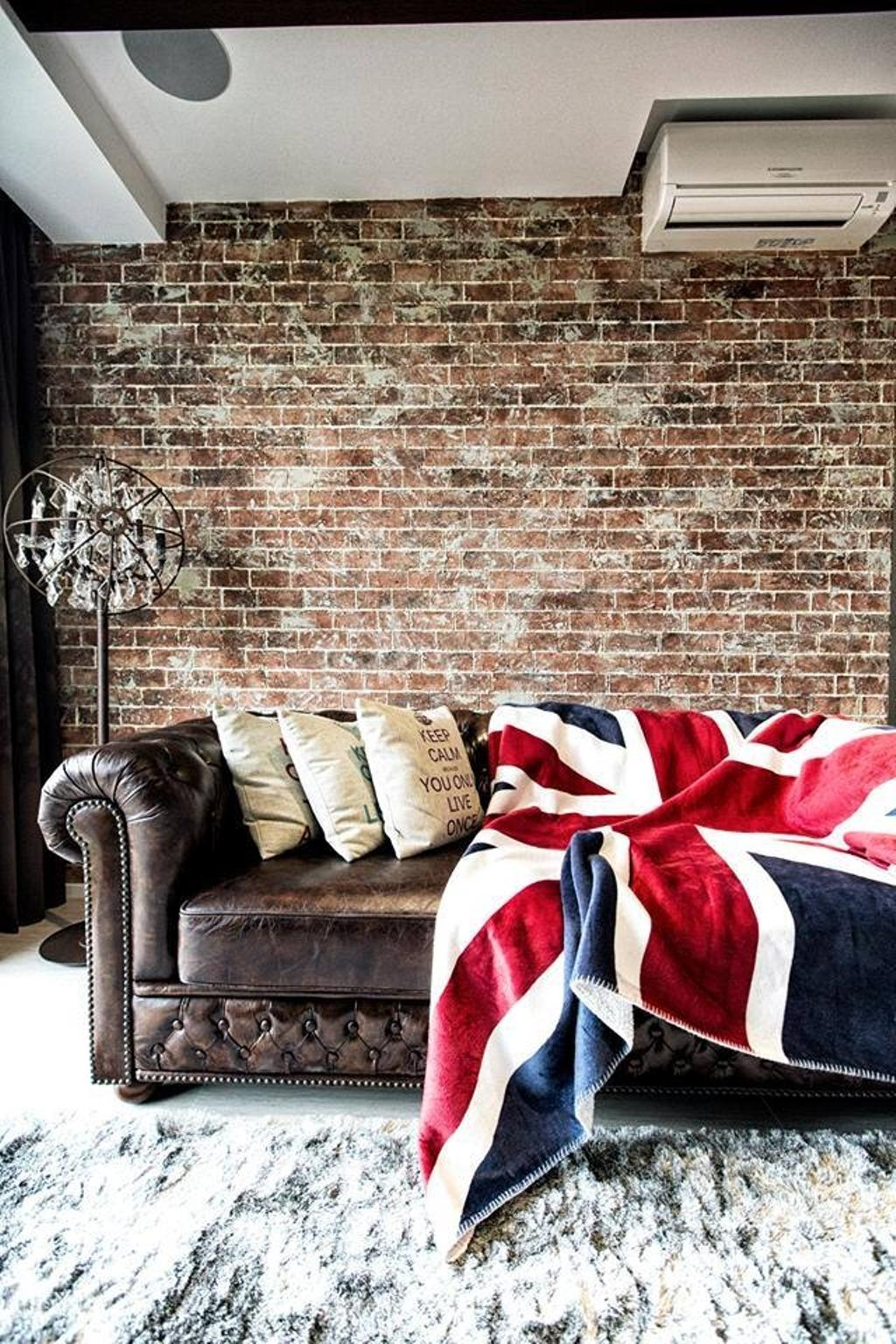 Industrial, Condo, Living Room, Simei Street 3, Interior Designer, Des & Co Interior, Human, People, Person, American Flag, Emblem, Flag