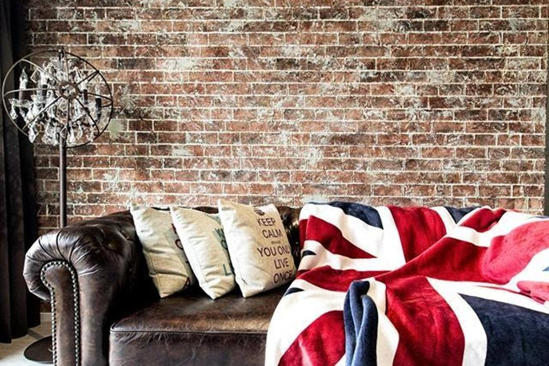 Simei Street 3, Des & Co Interior, Industrial, Living Room, Condo, Human, People, Person, American Flag, Emblem, Flag