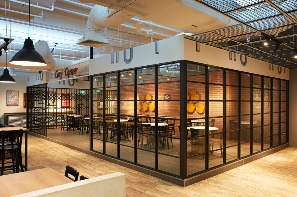 Staff Canteen, Commercial, Interior Designer, Spire Id, Industrial, Scandinavian, Wooden Floor, Glass Window Like Panels, Hanging Lights, Wooden Dining Table, Black Dining Chair, Enclosed Room, Modern Contemporary Dining Area, Dining Table, Furniture, Table