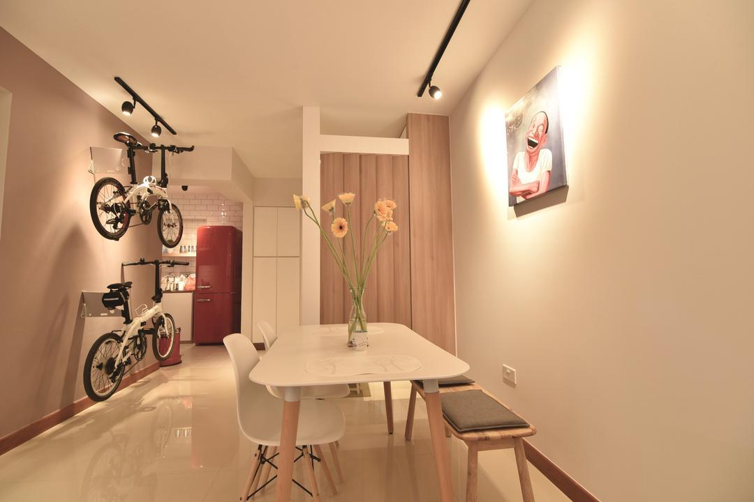 Punggol Drive (Block 678A), Van Hus Interior Design, Scandinavian, Industrial, Dining Room, HDB, Track Lights, White Dining Table, White Dining Chair, Dining Bench, Modern Contemporary Kitchen, Bicycle Holder