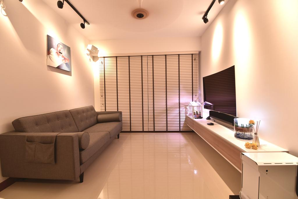 Scandinavian, HDB, Living Room, Punggol Drive (Block 678A), Interior Designer, Van Hus Interior Design, Industrial, Modern Contemporary Living Room, Track Lights, Ceiling Fan, Wall Mounted Television, Floating Television Console, Roll Down Curtain