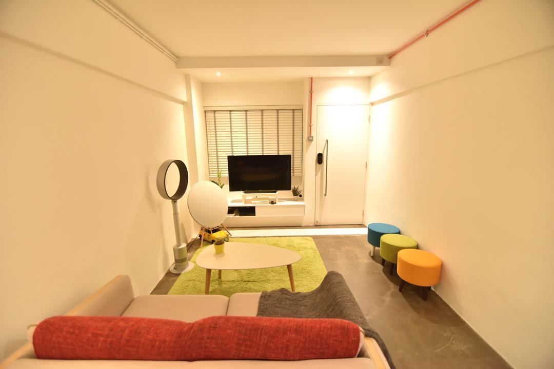 Telok Blangah Height (Block 64), Van Hus Interior Design, Minimalistic, Living Room, HDB, Modern Contemporary Living Room, Green Rug, White Walls, Coffered Ceiling, Hidden Interior Lighting, Marble Floor, Round Glass Table