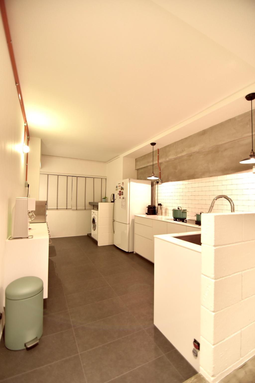 Minimalistic, HDB, Kitchen, Telok Blangah Height (Block 64), Interior Designer, Van Hus Interior Design, Ceramic Tiles, Polar White Walls, White Kitchen Cabinet, White Kitchen Cupboard, Modern Contemporary Kitchen
