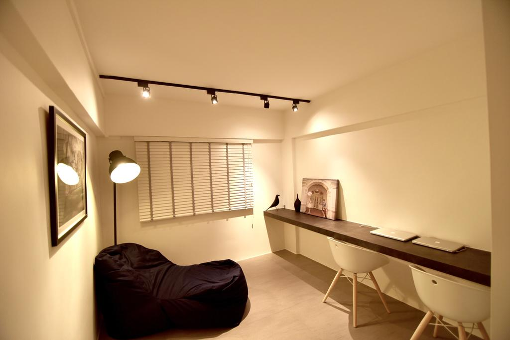 Minimalistic, HDB, Study, Telok Blangah Height (Block 64), Interior Designer, Van Hus Interior Design, Black Lounge Chair, Roll Down Curtain, Track Lights, Wall Mounted Wooden Desk, White Study Chair, Wooden Floor, Modern Contemporary Study Room