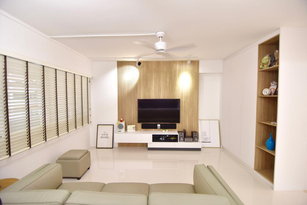 Modern, HDB, Living Room, Bishan Street 24 (Block 266), Interior Designer, Van Hus Interior Design, Roll Down Curtain, Ceiling Fan, Wooden Panel, Wall Mounted Television, Television Console, Hanging Lights, Wooden Shelves, Modern Contemporary Living Room